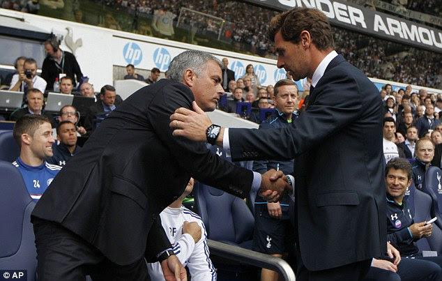 Brief: Tottenham manager Andre Villas Boas (right) and Chelsea boss Jose Mourinho shake hands