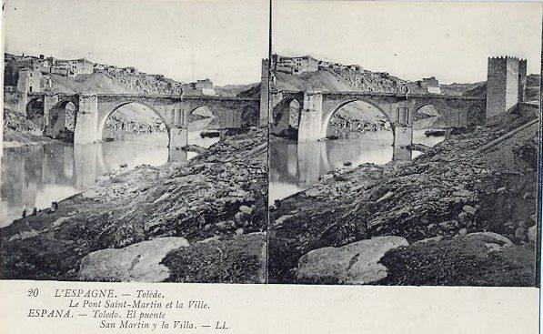 Fotografía estereoscópica del Puente de San Martín hacia 1900. Fotografía de Louis Levy