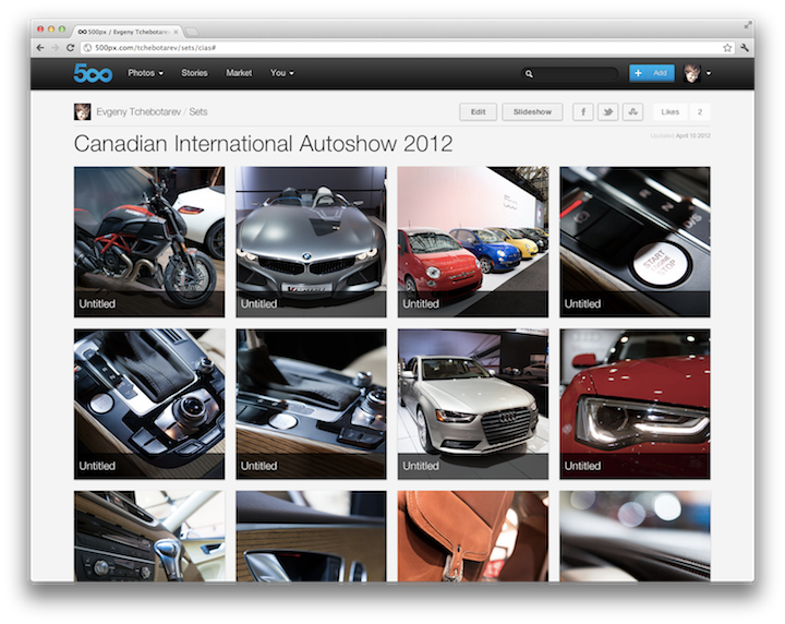 500px Adds Sets and Analytics