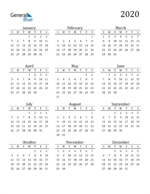 2020 Calendar Excel Templates