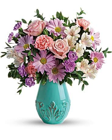 Teleflora S Blushing Aqua Bouquet In Odessa Tx Brevi S Flowers Decors