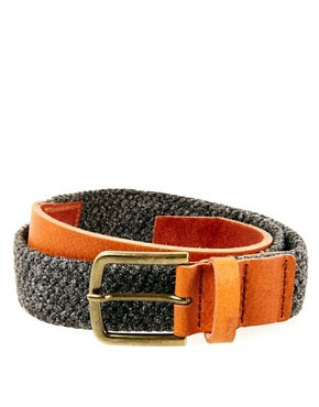 Image 1 of ASOS Tweed And Leather Belt