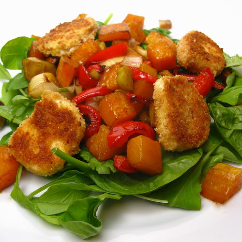 Roasted Veggie Salad with Fried Goat  Cheese