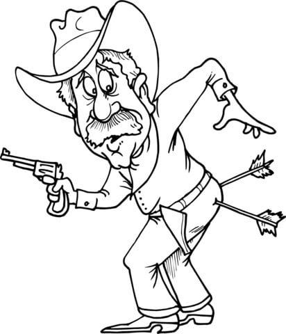 Coloriage Cowboy Avec Deux Flèches Dans Le Cul Coloriages à