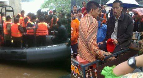 Aksi Fenomenal SBY & Jokowi Terobos Banjir Jakarta