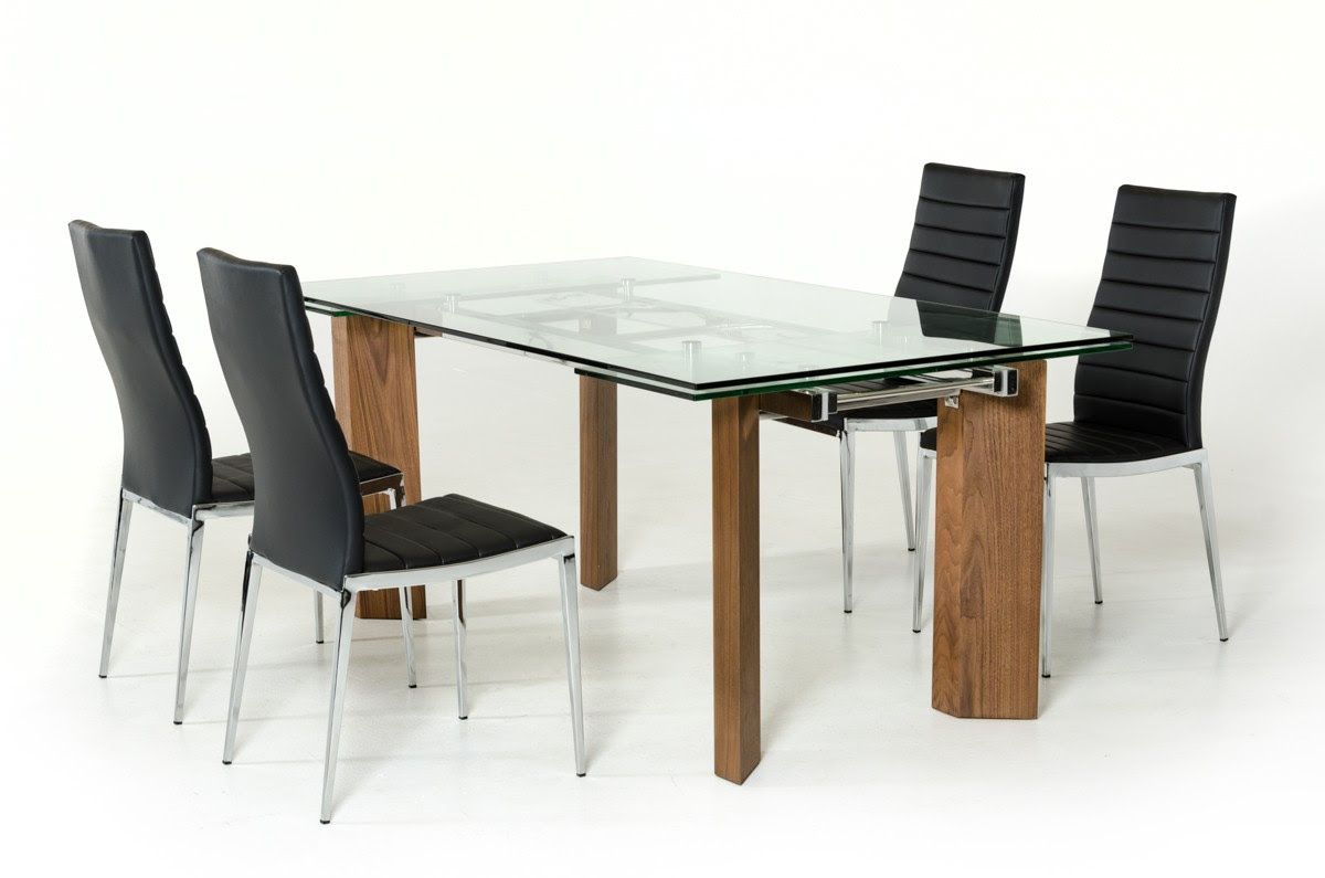 Modern Glass Top Extendible Dining Table with Wooden Legs Columbus Ohio VIGHelenaLibby