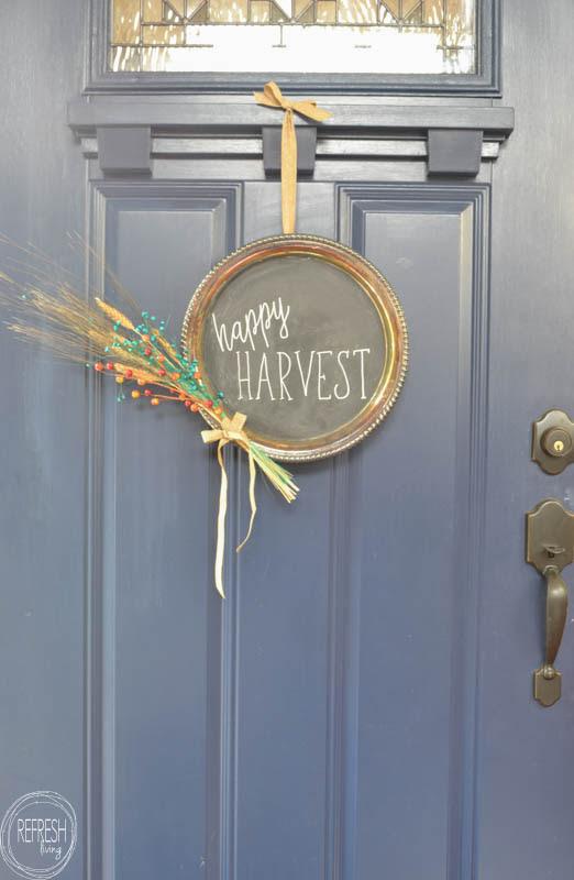 Chalkboard Platter Fall Wreath by Refresh Living