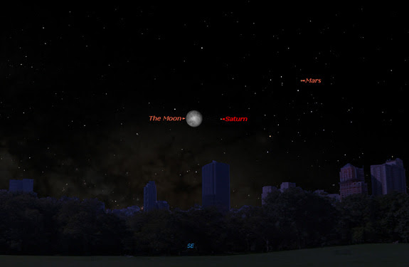 Saturn will be visible near the moon in the southeastern sky late at night on Sunday, May 21, 2016. This Starry Night sky map shows how the moon and Saturn (as well as Mars) will look at 11 p.m. local time.