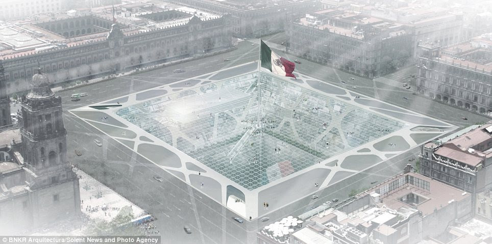Landmark: The earth-scraper would be located in the city's main square, and topped with an enormous Mexican flag