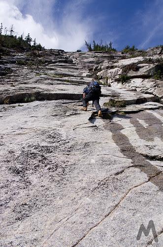 Ascending the lower slabs of Whiteface Ski Slide #3