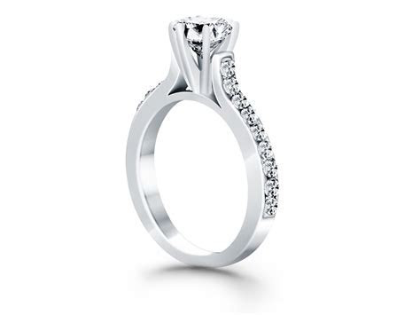 Curved Shank Engagement Ring with Pave Diamonds in 14k