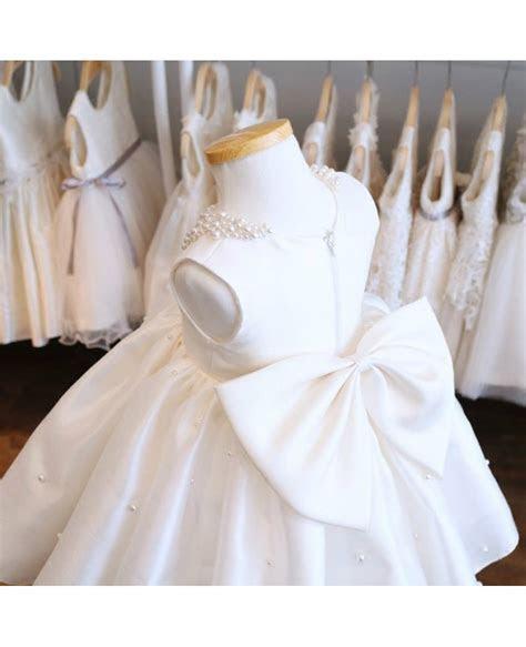 Designer Baby Collar Ivory Flower Girl Dress With Pearls