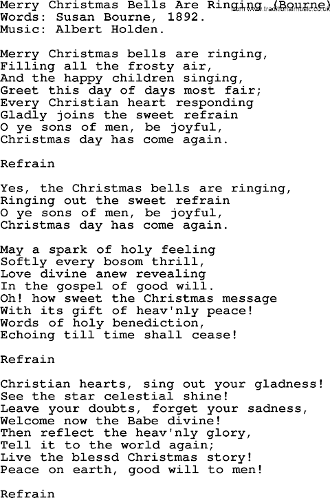And The Bells Are Ringing Out For Christmas Day Lyrics