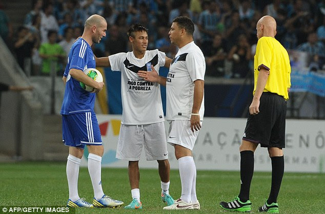 Payback: Neymar is the middleman as Ronaldo faces up to Zidane (but it's all in good spirits)
