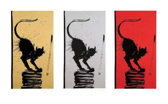 Cat Stack portfolio, 2006 Three screenprints on Rives BFK paper SHEET: 40 x 26 inches; 101.6 x 66 cm (each) IMAGE: 33 x 18.25 inches;  83.2 x 46.4 cm (each) Each pencil signed lower right,  numbered lower left