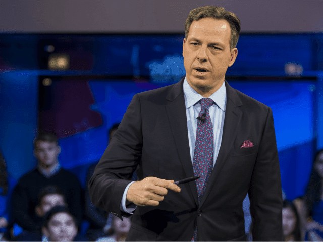 Jake Tapper, of CNN's State of the Union, speaks to a crowd at the Harvard Institute of Politics Forum before Trump Campaign Manager Kellyanne Conway and Clinton Campaign Manager Robby Mook enter the room for an event titled 'War Stories: Inside Campaign 2016' on December 1, 2016 in Cambridge, Massachusetts. (Photo by Scott Eisen/Getty Images)
