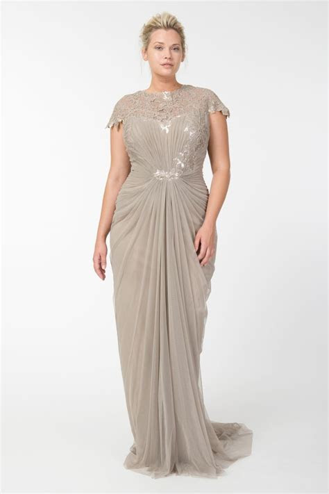 Tulle Draped Cap Sleeve Gown with Paillette Detail in Sand
