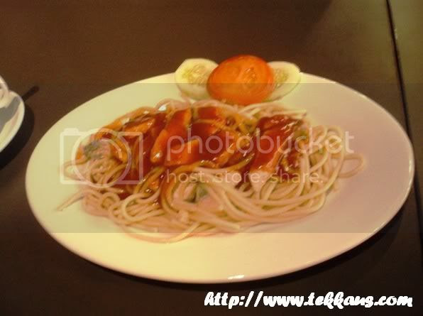 Sizzling Stonegrill Salmon Spaghetti