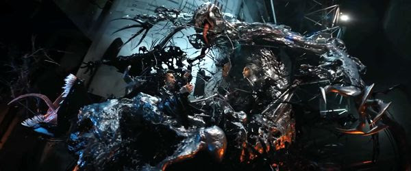 The Symbiote is almost ripped away from Eddie Brock by Riot in VENOM.