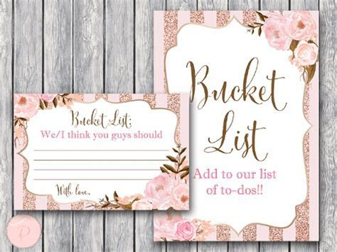 Rose Gold Bucket List Sign and Card
