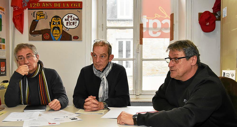 T. Pérennès et G. Helly (cosecrétaires de l'UL) en compagnie de J.-M. Jolly, en charge des dossiers agros à la CGT Bretagne.