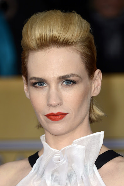Actress January Jones arrives at the 19th Annual Screen Actors Guild Awards held at The Shrine Auditorium on January 27, 2013 in Los Angeles, California.