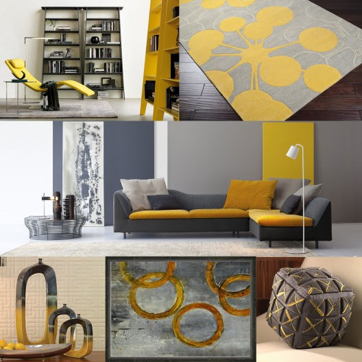 Modern Living Room Interior In Grey And Yellow Color Palette
