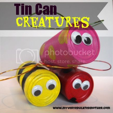 Tin Can Creatures via My Very Educated Mother #recycle #upcycle #yardart