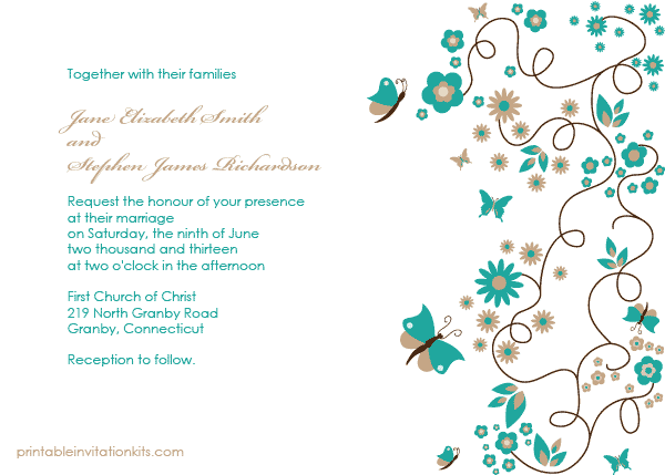 Chocolate Brown Cream And Teal Blue Flower Wedding Invitations by