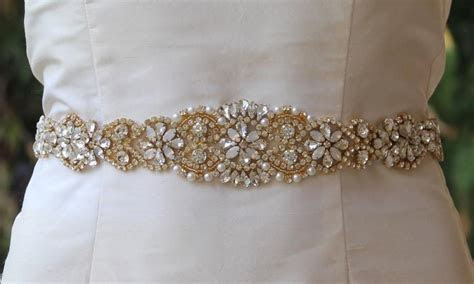 Gold Bridal Sash, White Opal Gold Sash, Milk Opal Crystal
