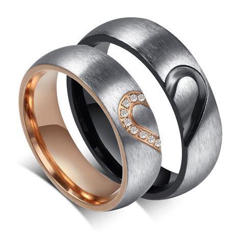 Elegant Heart Design Titanium Steel Gemstone Promise Ring