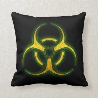 Biohazard Zombie Warning Pillow