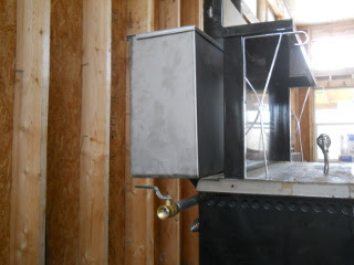 Wood Burning Stove Water Warming Tank in Place