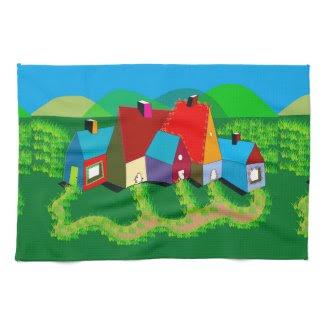 Kitchen Towel with Folk Art Landscape