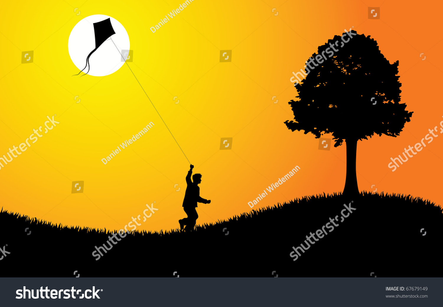 Young Boy Flying Kite Sunset Editable Stock Vector 67679149 ...