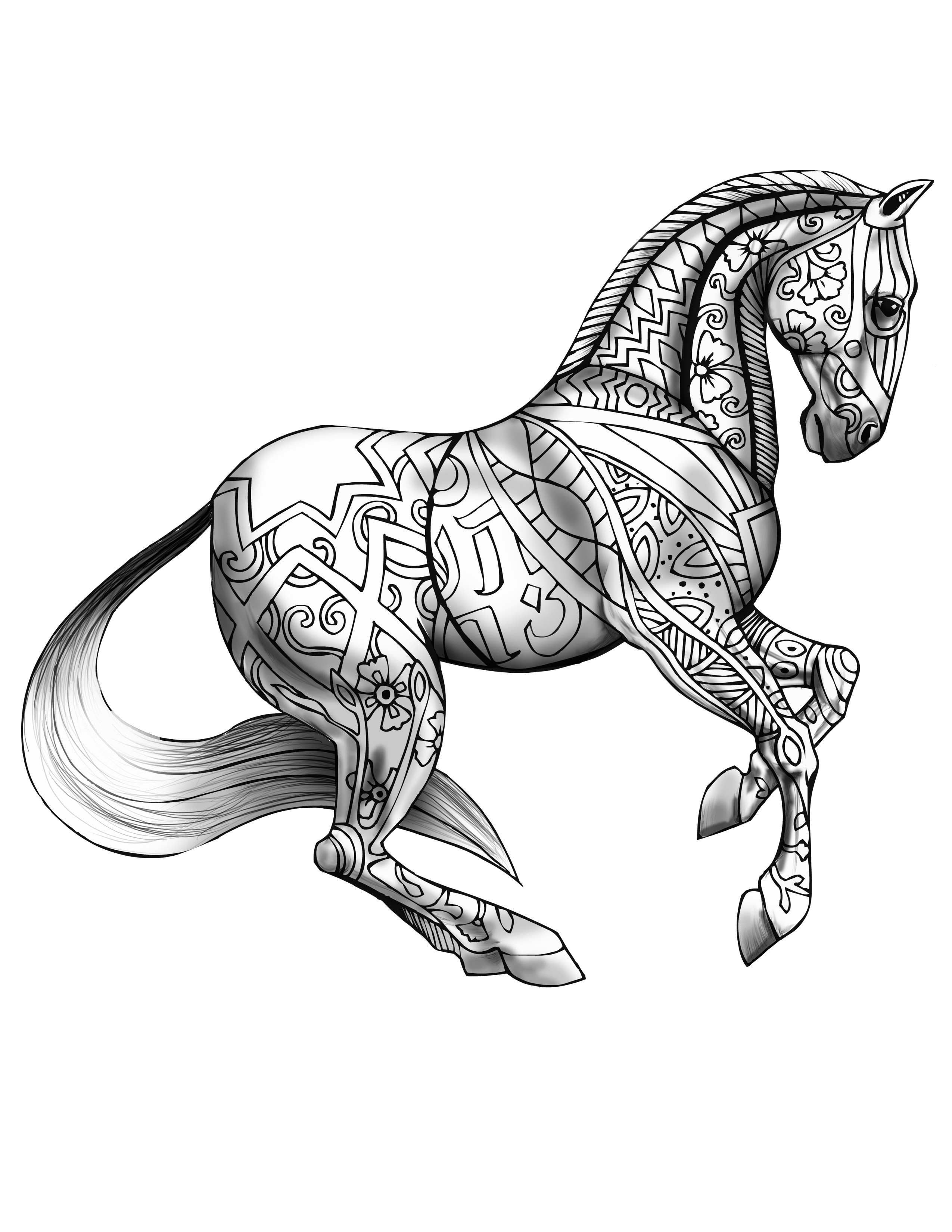 Coloring Book Page For Adults Print and Download- Horse ...