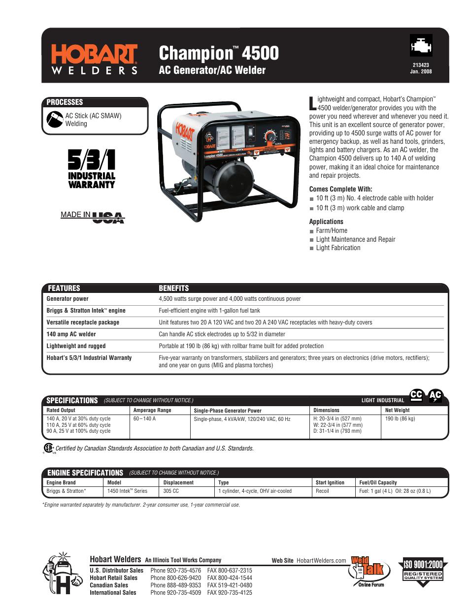 Hobart Welding Products AC Generator/AC Welder Champion ...