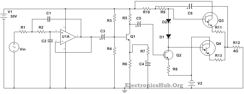 circuit diagram of 100w sub woofer amplifier