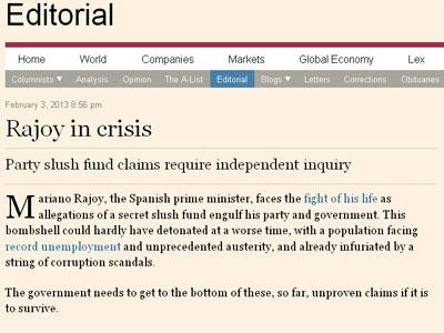 Imagen del editorial de 'Financial Times'.