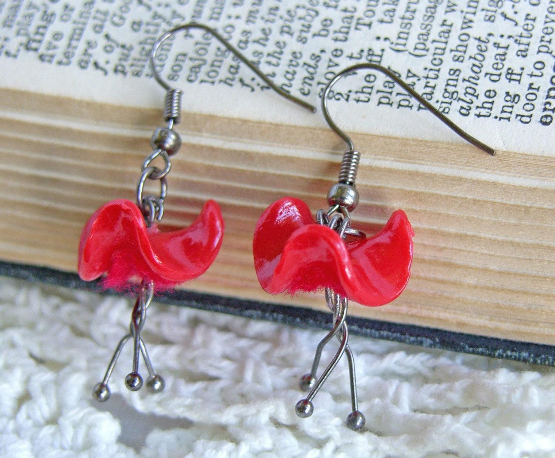 Dangly Red Poppy Earrings - 'Tangle Tango'