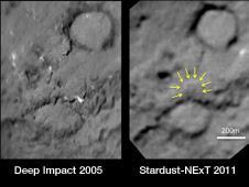 Comet Tempel 1 impact site