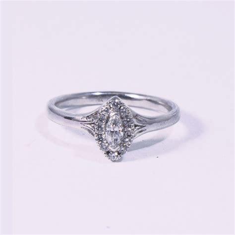 Marquise Cut Diamond Halo Engagement Ring   Handmade by Abana