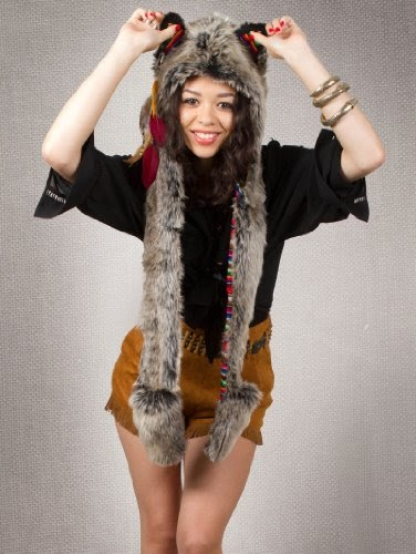 9a5ec417ad4 Hats   Spirithoods Authentic Spirithoods Grey Wolf Peruvian Hood Animal Hat