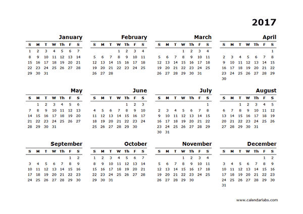2017 Yearly Calendar Blank Minimal Design - Free Printable Templates