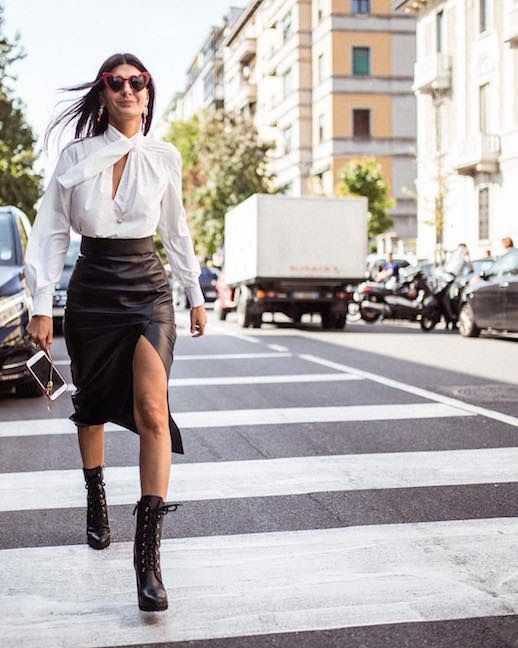 Le Fashion Blog Work Appropriate Outfit Tie Neck Blouse Black Leather Pencil Skirt Black Heeled Boots Giovanna Battaglia Engelbert Street Style Office Outfit Via @romilux