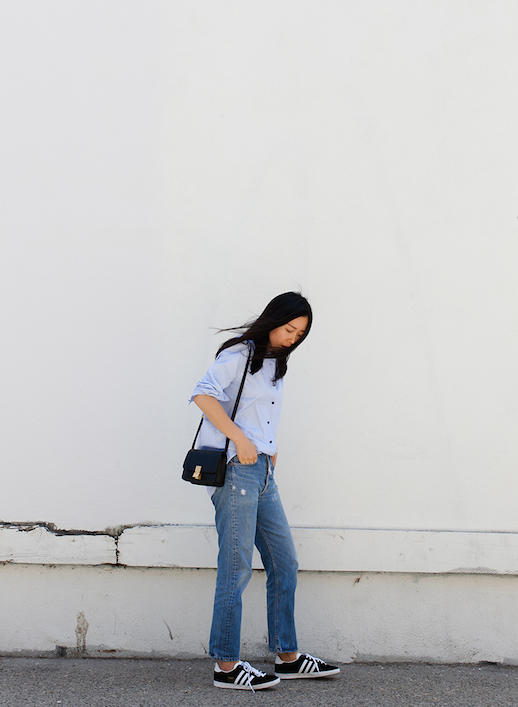 Le Fashion Blog 25 Ways To Wear Adidas Sneakers Button Down Skirt Boyfriend Jeans Black With White Stripes Via Andy Heart