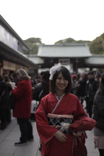 A girl in red kimono