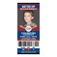 Baseball Birthday Photo Template Card