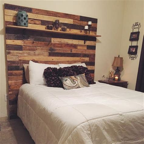 diy pallet headboard  decorative shelf wooden pallet