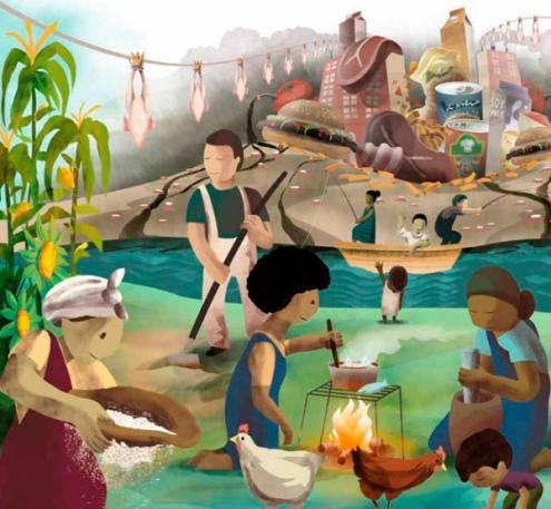 A cadeia alimentar agroindustrial ocupa mais de 75 por cento dos recursos usados na agricultura, mas só alimenta o equivalente a 30 por cento da população mundial